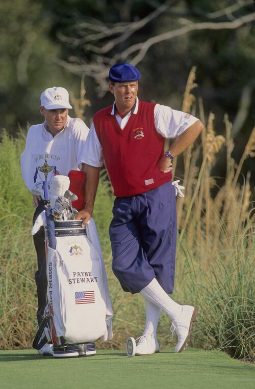 Payne Stewart waits patiently with his caddie on the tee at the 1991 Ryder Cup