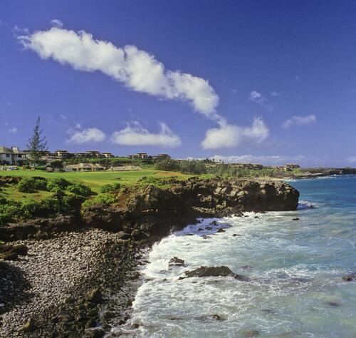 A scenic view of the coastline at the 1986 Kapalua International Golf Championship