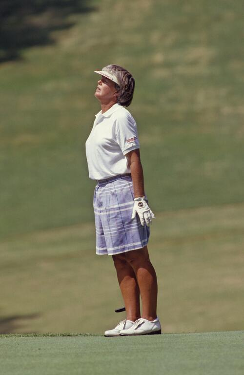 Pat Bradley sighs at her missed putt at the Ladies World Cup Championship in Japan