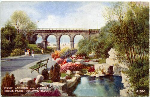 Rock Gardens and Viaduct, Erias Park, Bae Colwyn (Colwyn Bay).