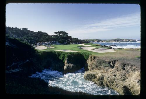 The dramatic 15th green of Cypress Point