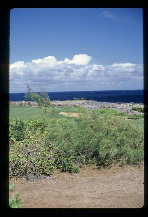 The dramatic volcanic nature shown on the fourth hole of Kapalua Golf Resort