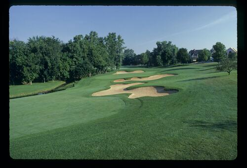 The Jack Nicklaus designed Muirfield Village with cloverleaf style bunkering around the green
