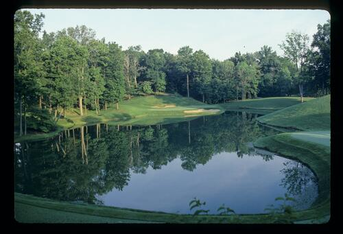 The 12th hole at Muirfield Village with echoes of Augusta's 12th