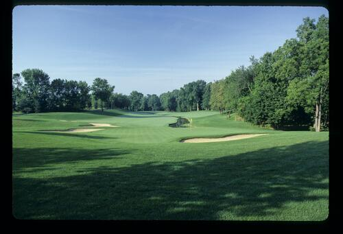 The well-manicured Jack Nicklaus designed Muirfield Village with creek winding up the fairway