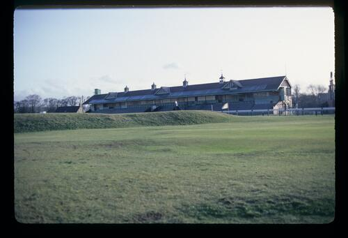 The racecourse grandstand and the oldest golf course in the world, Musselburgh Links