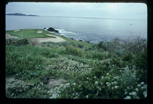 The seventh green at the dramatic and unmistakeable cliff top situation of Pebble Beach