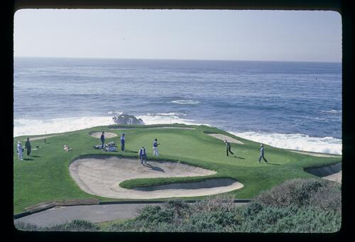 The eighth green at the dramatic and unmistakeable cliff top situation of Pebble Beach