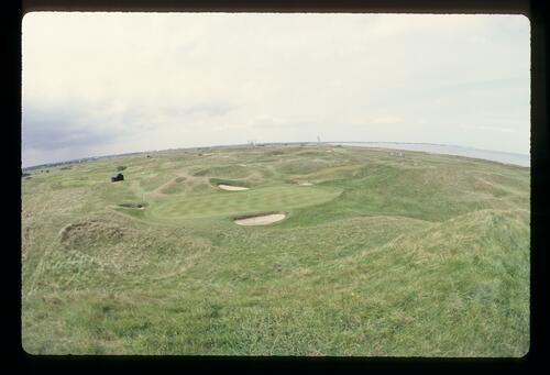 Undulating dunes surround the sixth hole at Royal St Georges