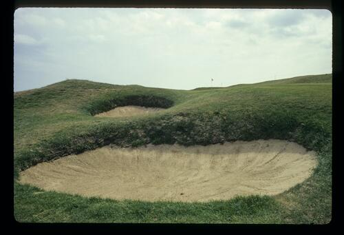 Deep pot bunkers on the third hole at Royal St Georges