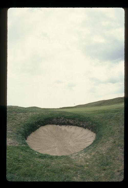 A vicious little pot bunker on the third hole at Royal St Georges
