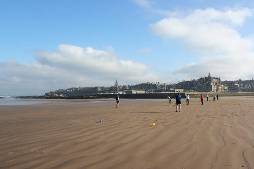[Students playing hockey on West Sands]