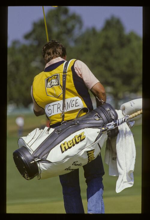 Curtis Strange's caddie at the 1987 Hertz Bay Hill Classic