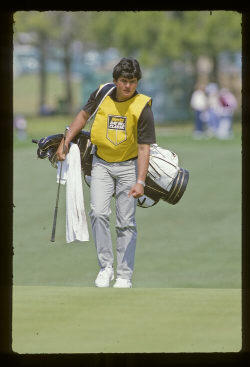 A caddie at the 1987 Hertz Bay Hill Classic