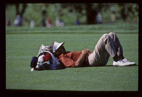 A caddie taking time out during the 1987 USPGA