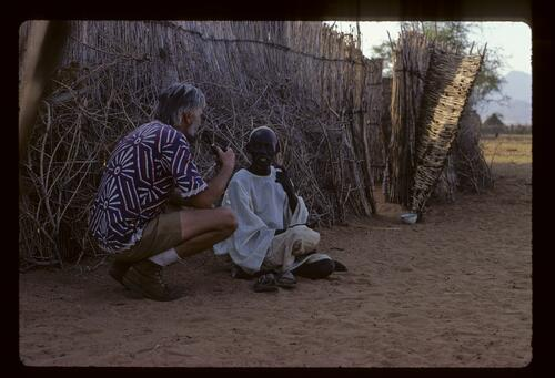 Professor Ladislav Holy talking to a member of the Berti Tribe, Sudan.