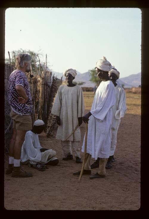 Professor Ladislav Holy talking to men of the Berti Tribe, Sudan.