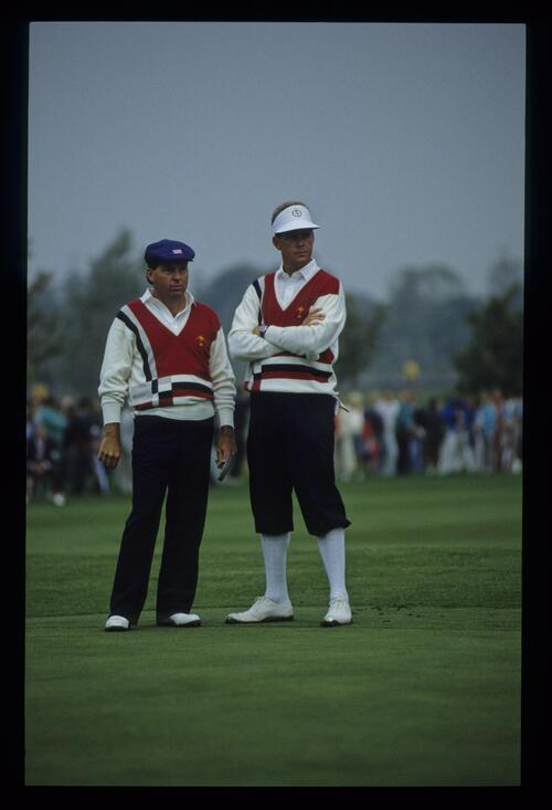 Partners, Lanny Wadkins and Payne Stewart watching their opponents putt at the 1989 Ryder Cup