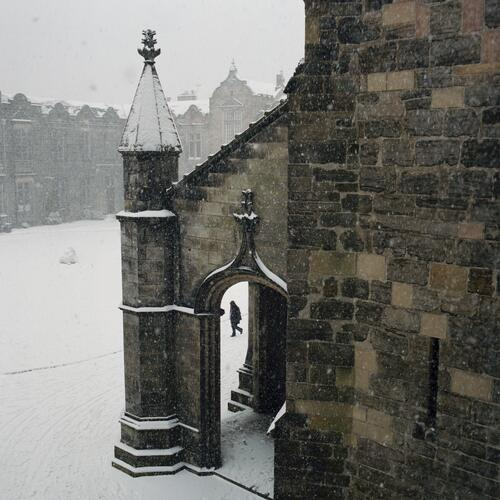 Snow in Quadrangle, St Andrews.