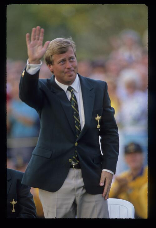 Howard Clark being introduced at the 1989 Ryder Cup