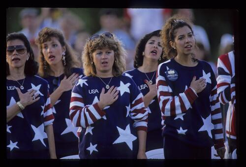 Wives of the American team singing their national anthem at the opening ceremony of the 1989 Ryder Cup