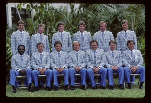 The 1983 US Ryder Cup team at the presentation ceremony in easily recognisable outfits