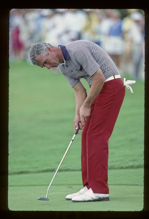 Brian Waites willing his putt to drop at the 1983 Ryder Cup