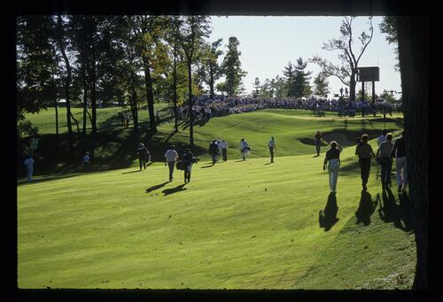 The shadows lengthen as the players continue into the late afternoon at the 1987 Ryder Cup