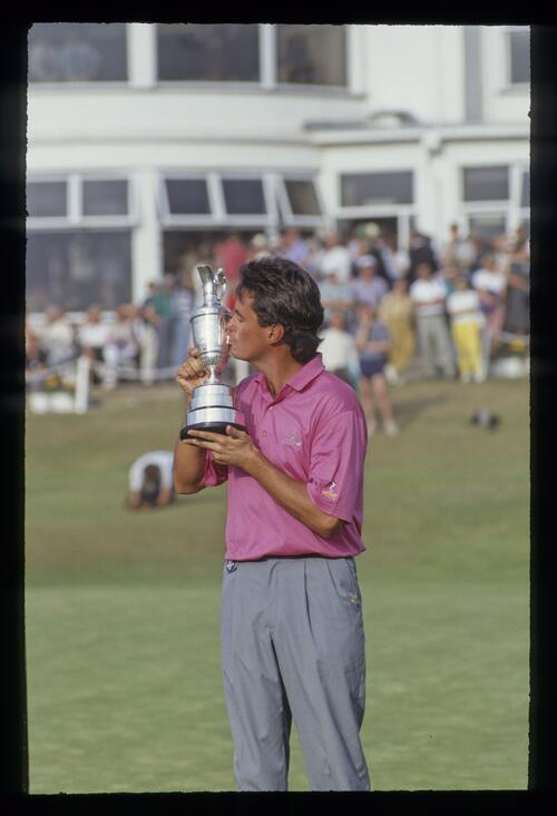 Ian Baker Finch kissing the Claret Jug after winning the 1991 Open Championship