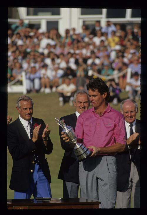 Ian Baker Finch admiring the Claret Jug after winning the 1991 Open Championship