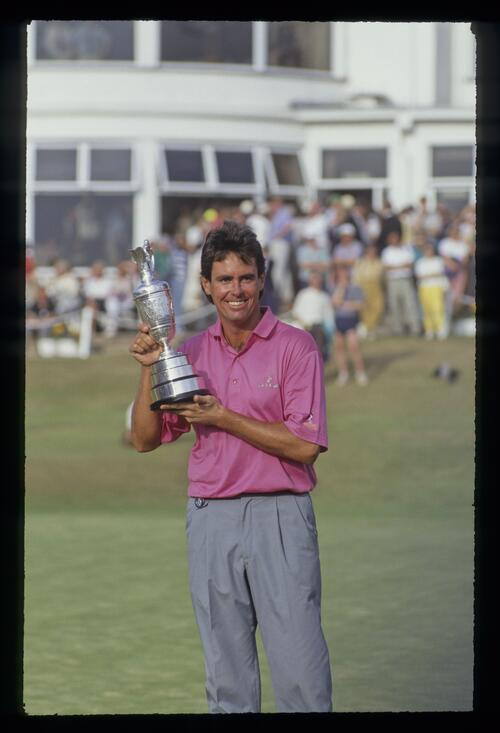 Ian Baker Finch displaying the Claret Jug after winning the 1991 Open Championship
