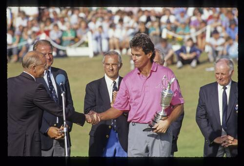 Ian Baker Finch receiving the Claret Jug after winning the 1991 Open Championship