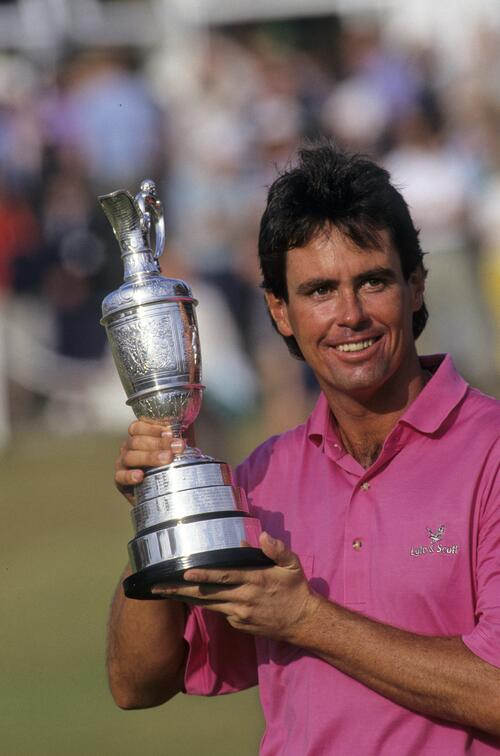 Ian Baker Finch holding the Claret Jug after winning the 1991 Open Championship