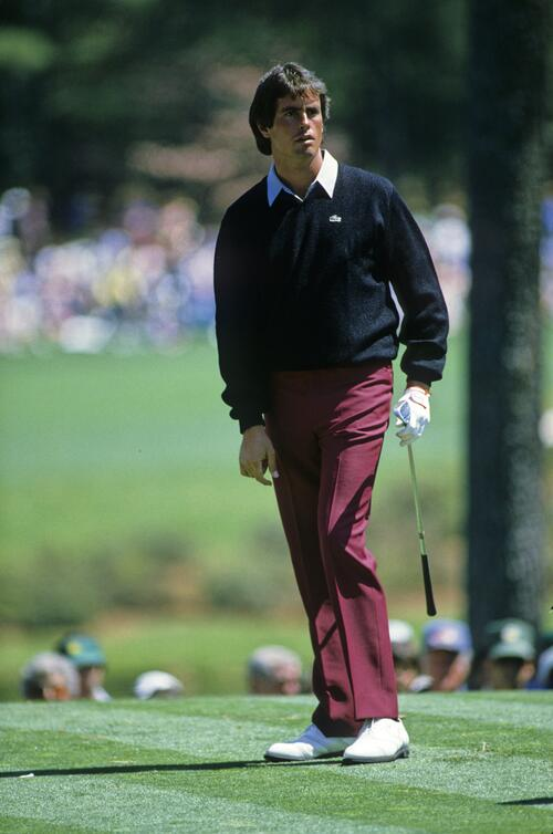 Ian Baker Finch watching his tee shot during the 1985 Masters