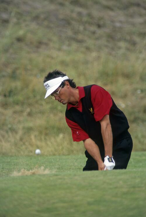 Ian Baker Finch splashing from a bunker during the 1993 Open Championship