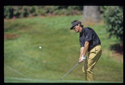 Ian Baker Finch chipping from the greenside during the 1993 Masters