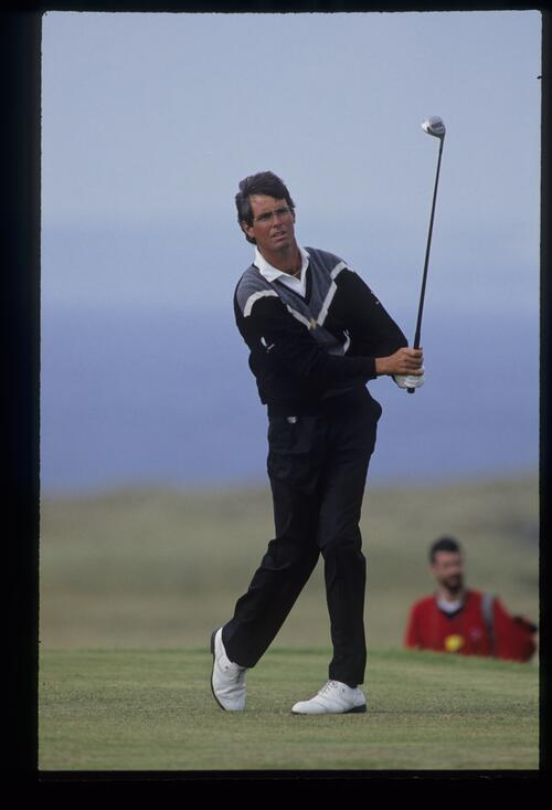 Ian Baker Finch watching closely from the tee during the 1992 Open Championship