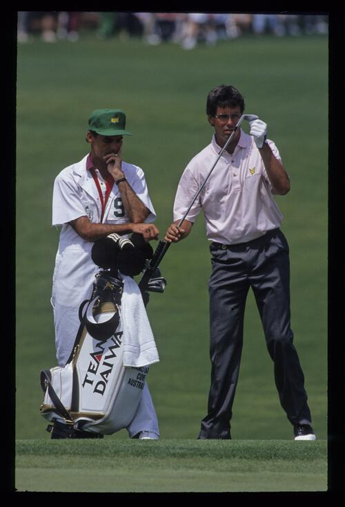 Ian Baker Finch about to chip during the 1992 Masters