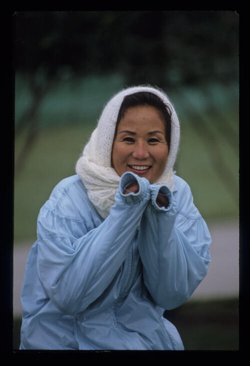 Mrs Aoki fighting the cold weather during the 1989 Nestle Invitational