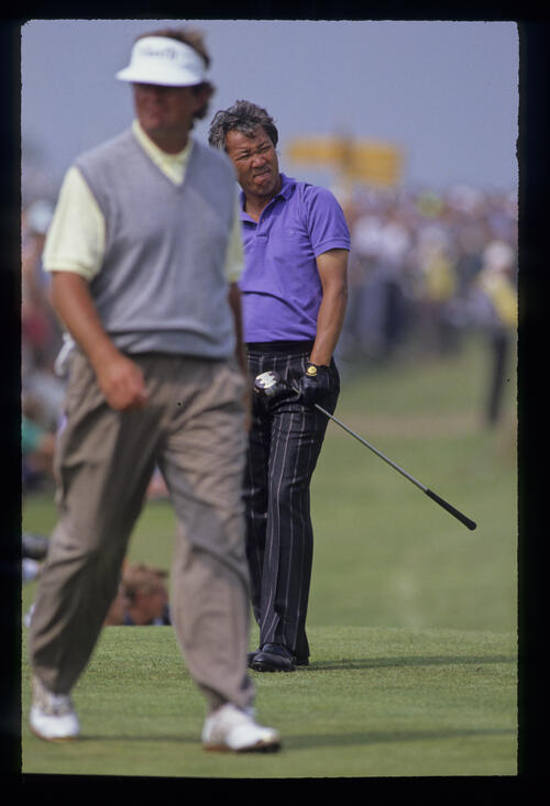 Isao Aoki and Ray Floyd on the tee during the 1990 Open Championship