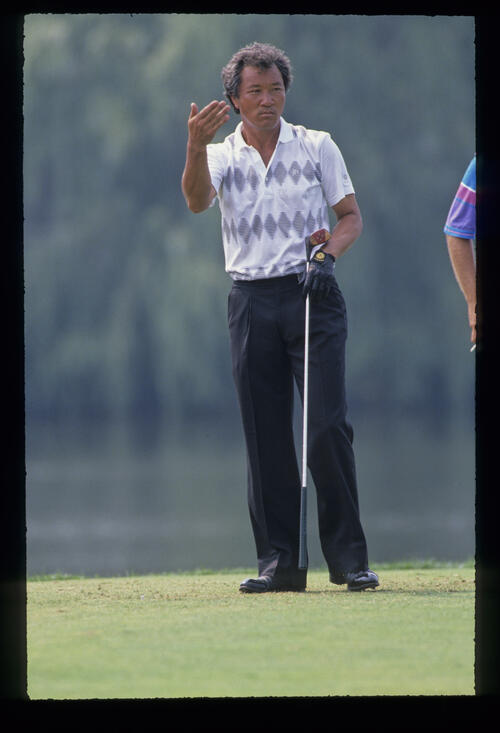 Isao Aoki on the tee during the 1989 USPGA