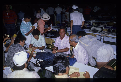 Isao Aoki in the media centre during the 1989 USPGA