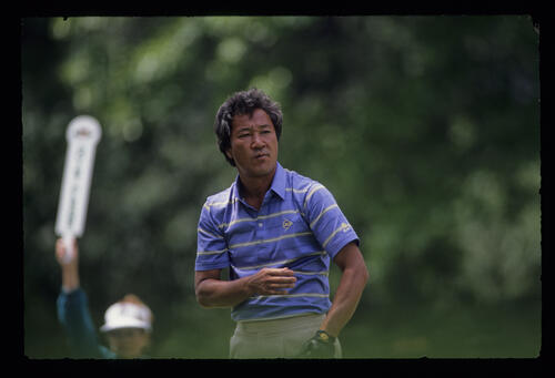 Isao Aoki on the tee during the 1989 US Open