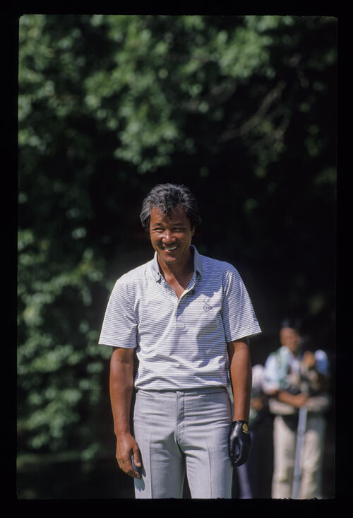 Isao Aoki smiling during the 1988 Memorial Tournament