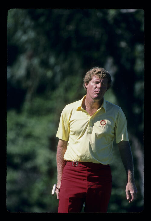 Andy Bean ruing a missed putt during the 1984 Kapalua International