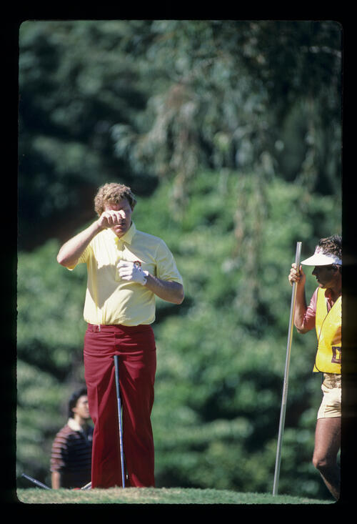 Andy Bean feeling the heat during the 1984 Kapalua International