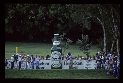 Mark Calcavecchia hitting from the tee on his way to winning the 1988 Panasonic Australian Open