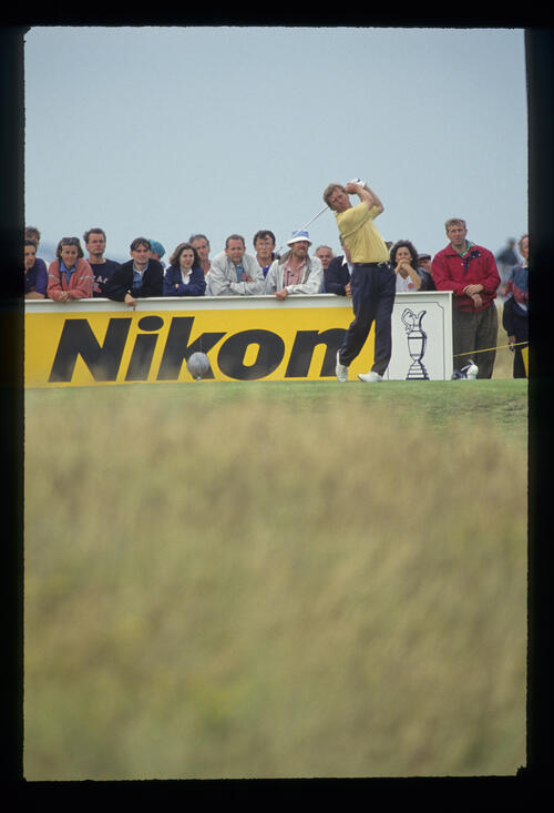 Howard Clark following through on the tee during the 1993 Open Championship