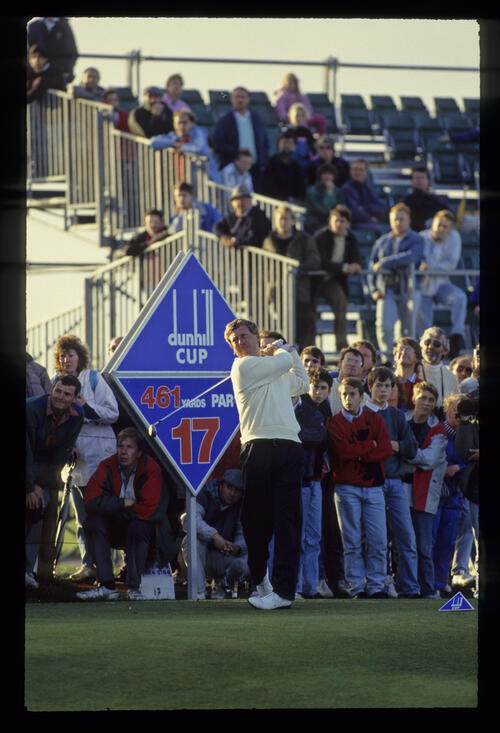 Howard Clark teeing off on the Road Hole during the 1990 Dunhill Cup