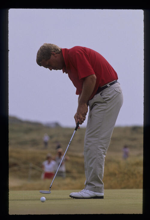 Howard Clark sending a putt on its way during the 1989 Open Championship